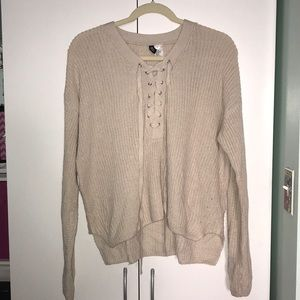 Beige H&M Oversized Lace Up Sweater